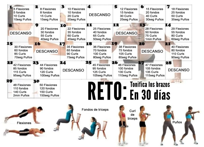 Reto de tonificar brazos en 30 d as ejercicios en casa - Plan de entrenamiento en casa ...