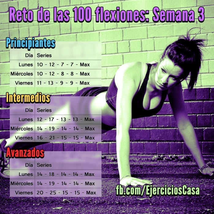 Reto 100 flexiones semana 3