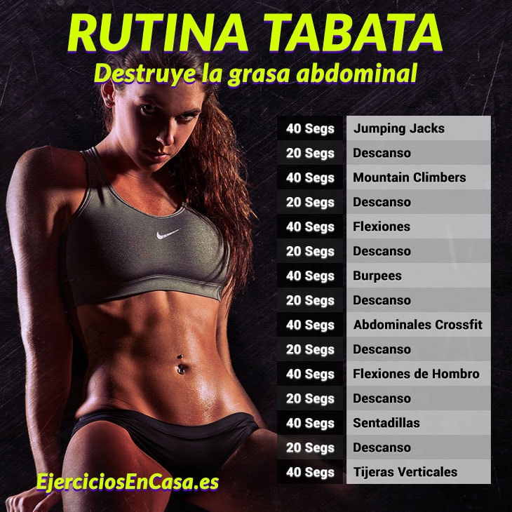 Tabata rutina quema grasa abdominal