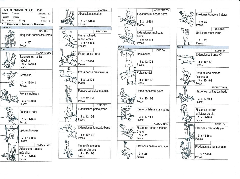 tablas de ejercicios gimnasio ejercicios en casa