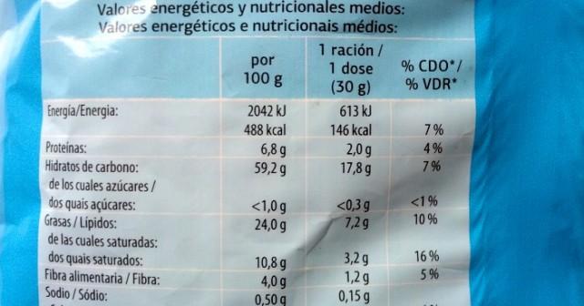 información nutricional patatas fritas light